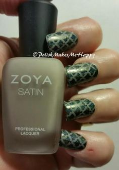 """Stamped with Creative Shop Stamper. Zoya Satins """"Rowan"""" over Too Fancy Lacquer """"Cooper Trooper"""".  Love it!"""