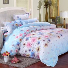 3 Or 4pcs Flower Paint Printing Bedding Sets Pillowcase Quilt Duvet... ($20) ❤ liked on Polyvore featuring home, bed & bath, bedding, flower stem, twin bedding, flower bedding sets, queen flat sheet and twin bed sets