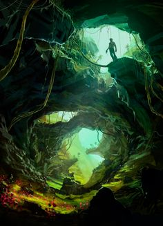 The Broken Caverns, located within the Forest. Some think its a potential entrance to the Lost Caverns, but so far none have found a way in