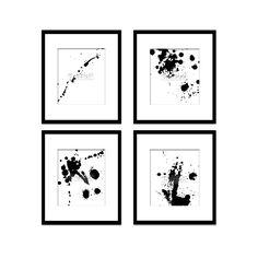 Paint Splatter Set 3, Black And White Art, Digital Black And White Art Prints, Abstract Art, Contemporary Art, Printable Art, Home Decor
