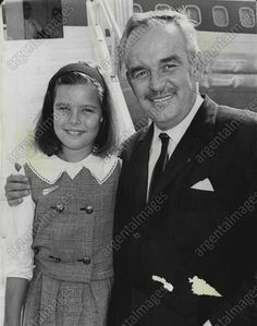 The 9 years old Princess - Caroline with her father Prince Rainier in 1966