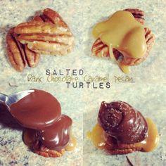 Salted Dark Chocolate Caramel Pecan Turtles