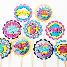 Coordinate your superhero party theme right down to the cupcakes! You will receive an assortment of personalized superhero themed cupcake toppers mounted on food safe wood picks. Try them in a platter