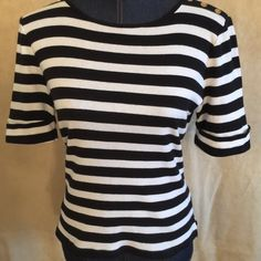 Ralph Lauren top So cute and sporty Ralph Lauren top black and white striped and ready for casual or throw on with a slim black skirt and head out for the evening Ralph Lauren Tops Tees - Short Sleeve