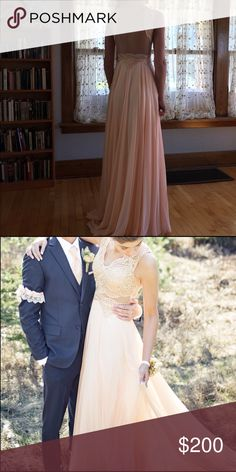 "Gown Full length gown, size small/4, never altered, only worn once, beautiful condition. Hallow to hem ""65 Dresses Prom"