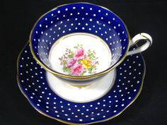 Royal Albert Cobalt Raised Polka Dots Floral Tea Cup and Saucer | eBay