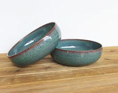 Ceramic Pasta Bowls in Sea Mist Glaze - Stoneware Pottery Bowls, Rustic Kitchen, Ceramic Pottery, Teal Blue Green Bowls, Set of 2 Rustic Cafe, Rustic Logo, Rustic Restaurant, Rustic Kitchen, Rustic Cottage, Rustic Modern, Rustic Wall Decor, Coastal Decor, Rustic Bench
