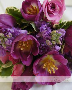 Purple tulips, stock, and spray roses