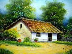 Imagem relacionada House Landscape, Landscape Art, Landscape Paintings, Farm Paintings, Indian Paintings, Watercolor Landscape, Watercolor Paintings, Leaves Wallpaper Iphone, Front House Landscaping