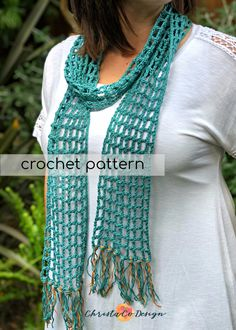 This quick and easy scarf will give you that pop of color for summer and bring you into fall for those cool mornings. Materials: of medium worsted weight cotton, I used one ball Lion Brand's cotton in Jade hook, scissors, yarn needle All Free Crochet, Easy Crochet, Crochet Summer, Lion Brand, Crochet Scarves, Crochet Shawl, Crochet Clothes, Knitting Patterns, Crochet Patterns