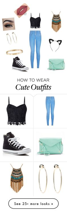 """""""cute outfit"""" by elizabeth-rivera-2020 on Polyvore featuring New Look, Lipsy, Converse, Apt. 9, Leslie Danzis, Cartier, Bebe and Smashbox"""