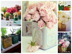 flowers in tea tins