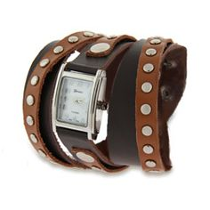 Two Tone Brown Leather Studed Wrap Around Watch
