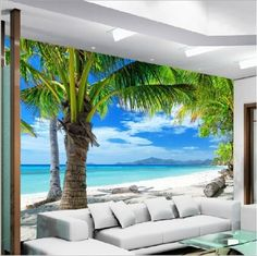 Wallpaper Bedroom Living Mural Beach Island Coconut Modern Wall Background for sale online Palm Tree Wallpaper Mural, 3d Wallpaper Landscape, Home Wallpaper, 3d Wallpaper Beach, Butterfly Wallpaper, Bedroom Wallpaper, Vinyl Wallpaper, Floor Murals, Ceiling Murals