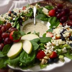 CHRISTMAS   FRUIT SALAD   Winter Berry Wreath Salad w/Lemon Poppy Dressing   green salad   special occasion salad