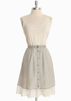 """Misty Morning Striped Dress 42.99 at shopruche.com. Delicate eyelets and subtle floral embroidery lend playful charm to this semi-sheer cream dress accented with a striped gray cotton skirt and a whimsical layered hem. Finished with an elasticized waist, an optional belt, and front button closures. Partially lined.Skirt: 100% Cotton, Top and Slip: 100% Polyester, Imported, 37"""" length from top of shoulders, 34""""..."""