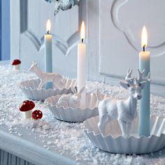 DIY déco de Noël: Bougeoirs dans des moules à tartelettes avec figurines animales pour Noël - Marie Claire Idées