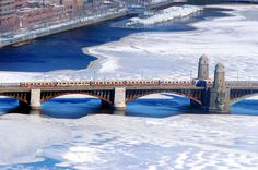 Red Line train on the Longfellow Bridge. #CambMA DiscoverTheCharles.com