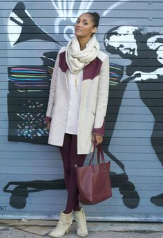 Scarf: Lulu's / Earrings: Urban / Free People suede dress / Matt Bernson booties Purple Tights, Colored Tights, White Outfits, Simple Outfits, Off White Coat, Winter Tops, Autumn Winter Fashion, Winter Style, Fall Fashion