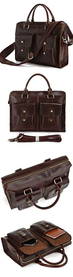 Genuine Hard Cowhide Messenger Bag Briefcase Handbag Laptop Computer Bag Business Travel Tote