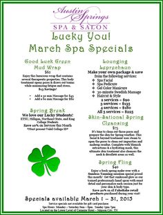 Prepare for spring, by scheduling one of our March specials! Day Spa Specials, Spa Promo, Message Therapy, Stylist Quotes, Salon Promotions, Spring Spa, Massage Business, Salon Services, Spa Offers