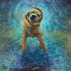 Shakin' Off The Blues - by Iris Scott, finger painting artist. IrisScottPrints.com