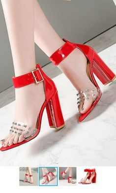 $64.90 - Red Block High Heels with rhinestones and ankle strap. Those heels shoes are for elegant ladies, teens and feminine women. Red Block Heel Sandals, Block Heels, Red Heels, High Heels, Shoes Heels, Red High, Elegant Woman, Fashion Boutique, Ankle Strap