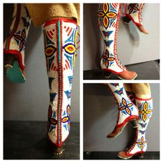 Previous Pinner says: I still haven't taken her to the photographer but I thought you enjoy seeing some early images of the Dakota Indian Cowgirl's beaded 1910 lace-up cowgirl boots. Native American Regalia, Native American Artifacts, Native American Beading, Beaded Shoes, Beaded Purses, Cowgirl Style, Cowgirl Boots, Loom Beading, Beading Patterns