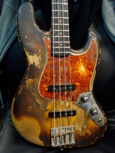 "Bobby Vega's Jazz bass AKA the ""shark bass"". Why shark? There's a picture of a shark on the backside. That's why."
