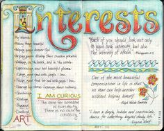 Interests - lovely journal art love this, the lettering is beautiful