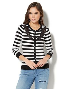 7th Avenue Design Studio - Lace-Accent Crewneck Chelsea Cardigan - Stripe - New York & Company