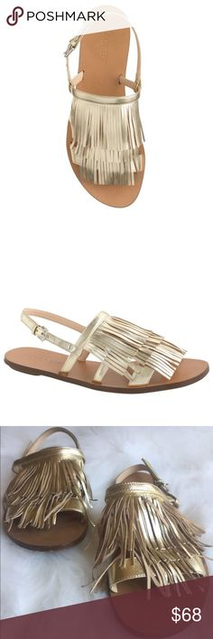 J. Crew Fringe Slingback Gold Metallic Sandals Love these J. Crew Fringe Gold Sandals!! One of the fringe benefits of these Italian leather slingback sandals—aside from the actual fringe? Being the envy of all your friends this summer. Perfect with shorts or dresses! Size 8.  Italian leather upper. Leather lining. Previously loved. Some imperfections on the toes & heels please see photos. Bottom has wear. SO much love left in these!!! C28M1630050217 J. Crew Shoes Sandals