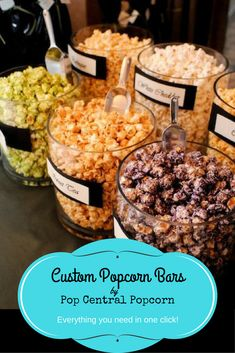 Dazzle your guests with an unforgettable Popcorn Bar by Pop Central Popcorn. You provide the event and we will take care of the rest! Popcorn bars are the perfe Flavored Popcorn, Popcorn Recipes, Wedding Popcorn Bar, Wedding Snack Bar, Popcorn Bar Party, Popcorn Station, Wedding Food Bar Ideas, Cheap Wedding Food, Party Food Bars