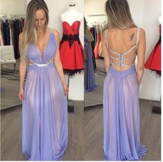 New Arrival Long Prom Dress, Backless Prom Dress,Sexy Prom Party Dress,Chiffon Evening Dress,122206