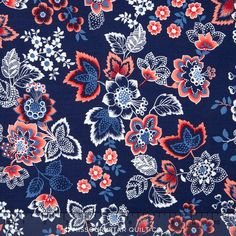 French Navy - Navy Large Floral Yardage - Studio 8 - Quilting Treasures