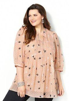 8709facafae Tonal Dot Bird Blouse-Plus Size Blouse-Avenue  plussizedressesideas Big  Fashion