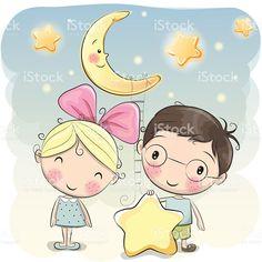 Girl and Boy with a star vetor e ilustração royalty-free royalty-free