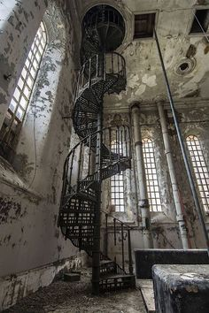 """steampunktendencies: """"Abandoned 19th Century Spiral Staircase """""""
