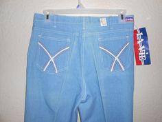 Vintage 70s Jeans Light Blue Denim Flare Leg DEADSTOCK NWT Pier 99 La Vie Sz 33 #Lavie #Everyday
