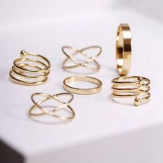 Complete your outfit with this stylish punk ring set. Be fashionable and have fun stacking up these rings. You can wear them together, separately or stacked with other designs. Additional Features: Fr