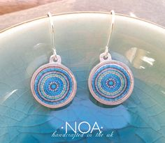 NOA Jewellery aluminium and ceramics round earrings in green and turquoise. www.noajewellery.com
