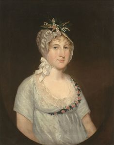 Ezra Ames (1768-1836) - Portrait of Harriet Romeyn (Mrs. Spencer) Stafford (1792-1849), aged 15 years, wearing a bonnet with lilies of the valley (1807) - Oil on canvas