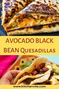 Avocado Black Beans Quesadillas Recipe, Healthy Avocado Black Bean Quesadillas. This vegan dish is suitable for those seeking to lead healthy lifestyles. healthy eating/ avocado recipes/ simple avocado recipes/ food with avocado/ cooked avocado Yummy Quesadillas, Quesadilla Recipes, Avocado Recipes, Vegan Recipes, Mashed Avocado, Salad Recipes For Dinner, Dinner Sides, Vegan Dishes, Black Beans