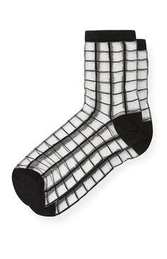Sheer Black Grid Socks