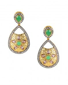 Leaf Shape Golden Earrings with Green Top