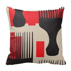 Red Black Hair Comb Afro Pick Pillow