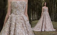 """Ivory wedding ball gown with flower appliques by Paolo Sebastian // Beautiful couture wedding gown inspiration from Paolo Sebastian's 2016/2017 Autumn Winter """"Gilded Wings"""" collection {Facebook and Instagram: The Wedding Scoop}"""