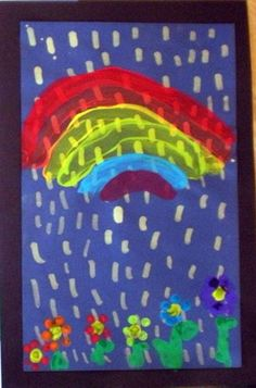 PreK/K Spring showers painting