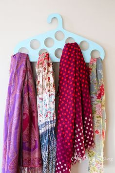 DIY Scarf Hanger. Learn how to make this simple scarf hanger and get organized! Free template and instructions #make #organize #scarf skiptomylou.org
