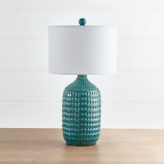Liana Teal Textured Table Lamp |